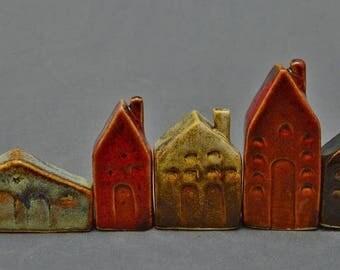 Small Clay Houses, Miniature Houses, Ceramic Houses
