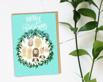 Custom Christmas card - Custom family portrait-digital file