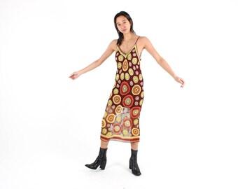 90s Rainbow KNIT Crochet / Sheer Open Stretch Mesh Bandage / Bodycon Spaghetti Strap Tank Maxi Festival Dress - So Special!
