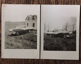 Pair Original Vintage Photographs The Cars 1956
