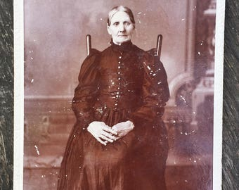 Original Antique Cabinet Card Photograph Witchy Woman