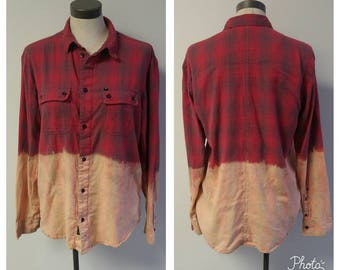 Upcycled Clothing, Dip Dyed Red and Navy Plaid Shirt, Vintage Flannel Shirt, Bleach Dyed, Reclaimed Button-up Grunge Shirt, Mens Med #118