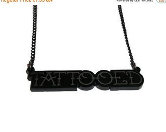 Tattooed Necklace, Perspex Tattoo Jewelry. Laser Engraved Acrylic
