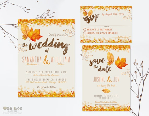 Autumn Wedding Invitation Set Fall Wedding Invitations DIY Printable