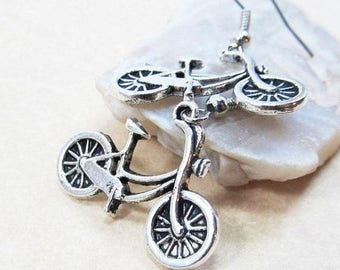 40% OFF Dangle Drop Earrings - Silver Pewter Metal Bicycle Charms - Surgical Steel Ear Hooks (H-9)