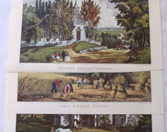 On Sale 3 Currier and Ives Country Autumn  Prints, Currier and Ives Sleepy Hollow, Harvest Country, Affordable Art, Cottage Chic Decor, Curr