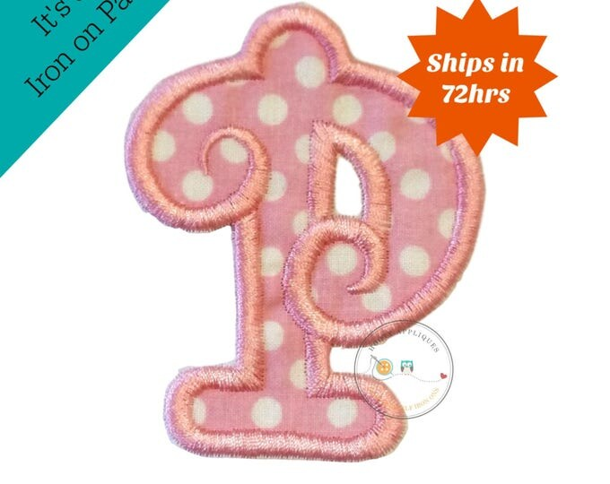 Soft pink small letter P iron on applique-mini inital letter P machine embroidered fabric patch-DIY boutique fashions