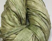 New Recycled Sari Silk Ribbon Olive Jewelry Eco Gift Wrap Garland Arm Knitting Ribbon Weave Crochet Fair Trade Fiber Art Supply