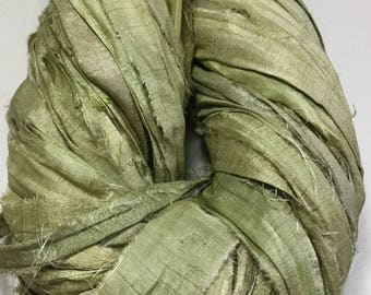 New Recycled Sari Silk Ribbon Olive Jewelry Eco Gift Wrap Garland Arm Knitting Ribbon Weave Crochet Fair Trade Fiber Art Supply