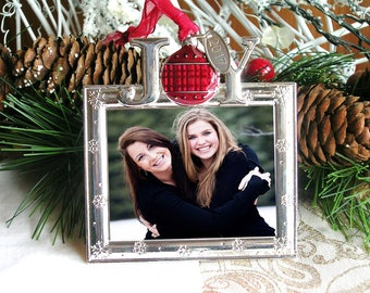PHOTO ORNAMENT Christmas 2017 JOY Ornament Photo Gift for Mom and Dad Gift Grandmother Christmas gift for Him or Her
