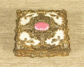 Pink Enamel Jewelry Box - Vintage Metal Footed Trinket Casket