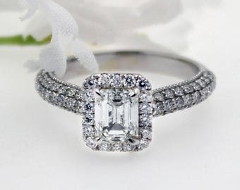 Stunning GIA Certified 2.25 Ct Emerald Cut Halo Diamond Engagement Ring 18K Gold