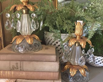 Antique Pair Crystal and Tole Budoir Lamps Crystal and Gilt Vanity Lamps Tole Lamp Pair Hollywood Regency Lighting