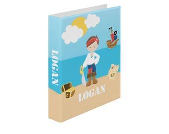 Pirate Personalized Binder - Pirate Boy Sea Island, Customized Pocket Binder 3 Ring Binder 1.5 Inch Spine Back to School
