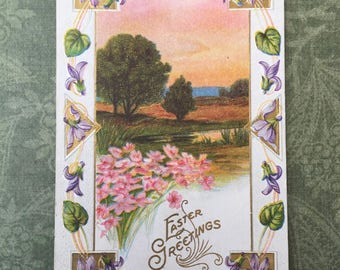 Sweet Edwardian Era Easter Postcard with Lavender Flower Border