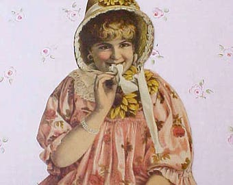 Charming Victorian Trade Card of Shy Young Lady in Summer Bonnet