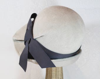 Brimmed Cloche Hat in Alabaster Velour Felt  ~ Lana ~ rain hat, 30s, Bergman ~ handmade by Bonnet, local Portland millinery