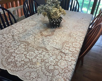 Tablecloth, Vintage Ivory Lace Dining Luncheon Tablecloth by MarlenesAttic