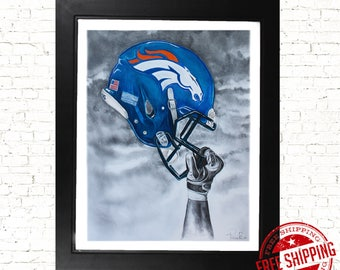 denver broncos Decor -Denver Broncos wall art - unique broncos wall art - Broncos Helmet - Denver Broncos - Wall art - nfl decor