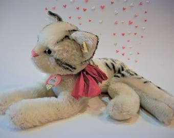Rare Steiff Vintage Cat Fiffy  ALL IDs + original Ribbon 1955-62 Ex.Cond. Collectible Handmade German Toy