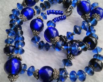Cobalt Blue Glass and Tibetan Silver Necklace