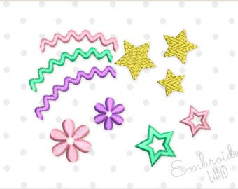 Magic Stars Unicorn Style Machine Embroidery Designs Set 3 sizes BA037