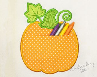 Pumpkin Real Pocket Applique for Thanksgiving and Halloween Machine Embroidery Design in Two Sizes Project In The Hoop ITH026