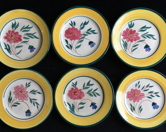 "Stangl ""Flora"" Pattern 6-1/4"" Bread and Butter Plates (Set of Six) Excellent Lightly-Used Condition"