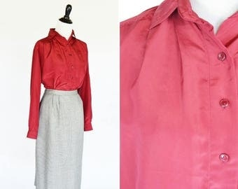 SUMMER SALE Vintage 1980's Red Secretary Blouse - Long Sleeve Maroon Button Up Professional Top - Ladies Size Medium to Large