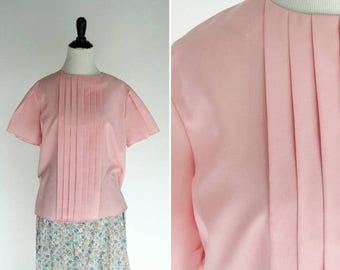 SUMMER SALE Clearence Vintage 1980's Pink Secretary Blouse - Short Sleeve Casual Top - Ladies Size Large