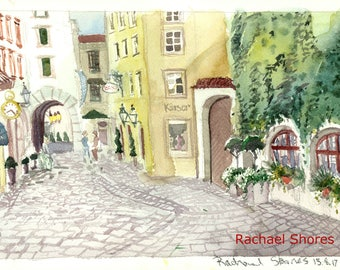 Munich Cobblestone Street Plein Air watercolor 11x14 giclee print,ivy,Europe,impressionist,expressive,colorful,sketch,travel,art,gray,quaint
