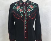 Vintage Scully cowgirl western shirt black with red roses Embroidery sz XS