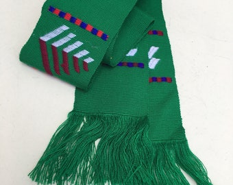 """Vintage green fabric sash Mexican Embroidered belt 68""""x3"""""""