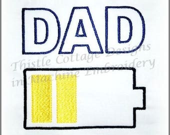 Charged Family Machine Embroidery Design for Father's Day Shirts, Tote Bags, Towels  on the 5x7 Hoop size
