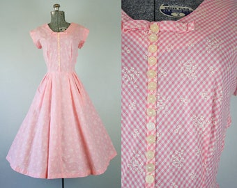 1950's Pink Gingham Cotton Day Dress / Size Medium