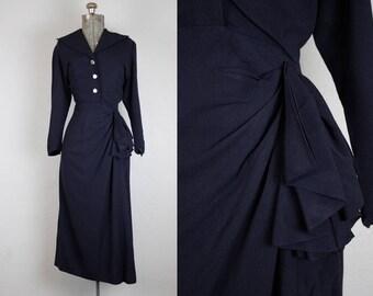 1940's Navy Rayon Crepe Cocktail Dress / Size Medium