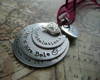 Hand stamped metal Christmas ornament, first christmas as mr & mrs, personalise, stacked disc ornament