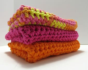 World's Best Handmade Dishcloths 100% USA Cotton Set of 3 - Play Time