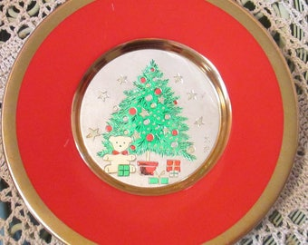 Vintage Chokin Christmas Plate