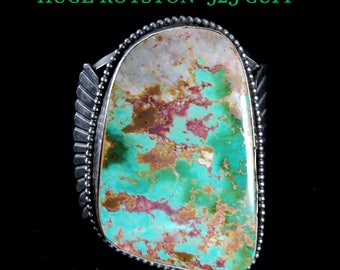 """Vintage~HUGE~Traditional Navajo~Royston Turquoise~925~Statement Cuff~3"""" Wide!"""