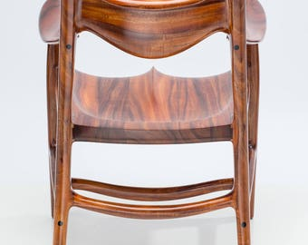 Koa Armchair, Mid-Century Modern, Highly Sculpted with Seamlessly Flowing Lines, By Commission Only
