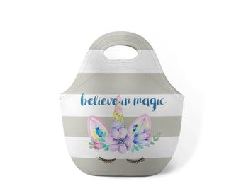 Personalized Lunch Tote - Unicorn - Custom Lunch tote for Children