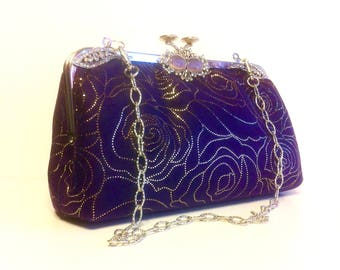 "Purple Suede Evening Purse, Rose Prints Rhinestones on Frame, in 20 "" Silver Tone Chain Handle, 9 X 5 X 3"