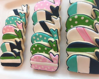 1 dozen colorful patterned whale decorated sugar cookies. Preppy whale, geometric patterns, birthday or baby shower.