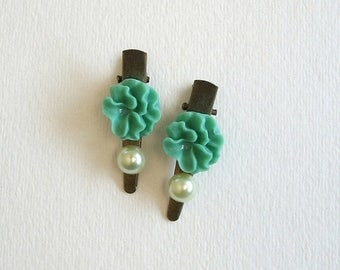 SUMMER SALE SAMPLE Sale Hair Clips Set of Two Sea foam Green Flower and Light Green Faux Pearl Antique Bronze Clips for Formal Bridal Party