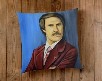 Decorative Pillow of Will Ferrell as Ron Burgundy from Anchorman