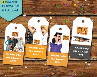 Despicable Me Thank You Tags,  Despicable Me 3 Party Favors, Despicable Me Tags, Despicable Me Birthday Tags, Party Tags, Gift Tags