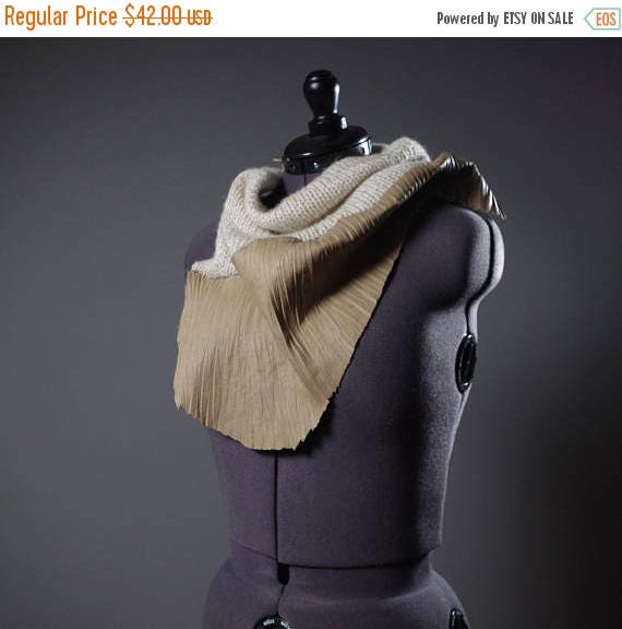 ON SALE OOAK Leather Scarf - Wool and Leather Scarf - Women's Scarves - Women's Accessories - Wool Neck Warmer