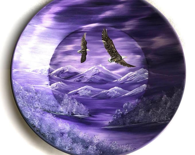 Hand Painted 11 Inch Gold Pans Mountain Lavender Northern Lights Eagles