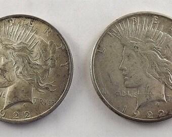 1922 Silver Dollar Coin, Vintage 1922 s Silver Peace One Dollar, Collectible Coin, Lot of Coins, Coin Set, Philadelphia San Francisco Mint